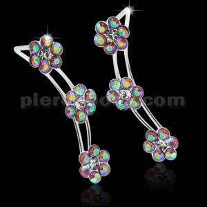 925 Sterling Silver Pink AB Tri Flower Ear Pin Stud