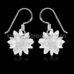 925 Sterling Silver cubic zirconia chandelier Ball Ear Ring