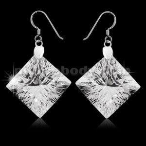 925 Sterling Silver Sparkling Diamond Shape cubic zirconia Hook Ear Ring