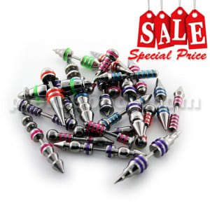 50 Pieces Different Types of Spike to Spike Fake Ear Plugs with 'O' Rings