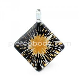 Paint Splatter Angled Square Glass Pendant