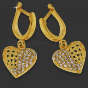Brass With Gold Plating Hanging Heart with Micro Setting Stone Earring