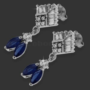 Dark Blue Micro Setting Stone Brass Earring Stud