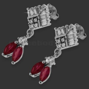 Red Micro Setting Stone Brass Earring Stud
