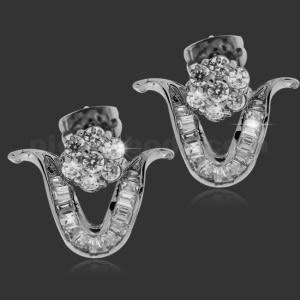 Micro Setting Stone V Shape Ear Stud
