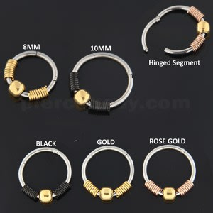 18G-1mm Surgical Steel BCR Hinged Segment Ring