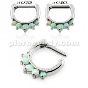 Synthetic White Opal Septum Clicker Piercing