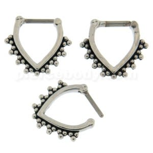 Tribal Dots V Shape  Nose Septum Clicker Piercing