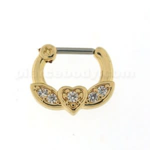Gold PVD Micro Paved CZ Flying Heart Septum Clicker Piercing
