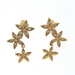 Triple Flower with Micro Setting Stone Ear Stud