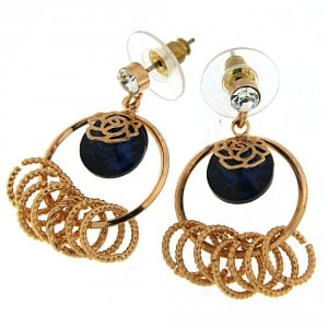 Fancy Jeweled Ear Stud with Hanging Rings