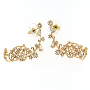 Fancy Gold Platted Butterfly Cuff with Micro Setting Stone Ear Stud