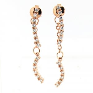 Fancy Jeweled Rose Gold Platted Hanging Ear Stud