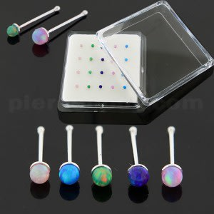Synthetic Opal Stones 925 Sterling Silver Nose Bone