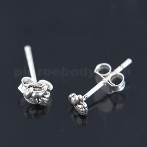 Oxidized 925 Sterling Silver Tiny Thumbs up Ear Stud