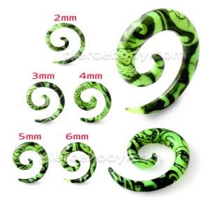 Black Pattern In Green Spiral Expander