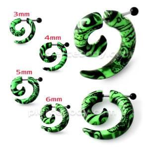 Black Pattern in Green Spiral Fake UV Ear Taper