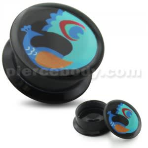 Floating Peacock UV Internal Screw Fit Ear Tunnel