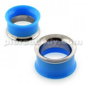 Light Blue UV Acrylic with Steel Internal Thread Flesh Tunnel