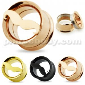 PVD Plated Internal Screw Fit Mustache Cut out Ear Flesh Tunnel