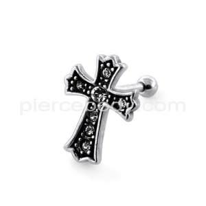 Jeweled Irish Crucifix Fake Ear Plug