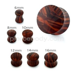 Stripe Brown Wood Pattern UV Acrylic Double Flared Ear Plug