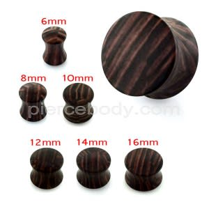 Brown Wood Pattern UV Acrylic Double Flared Saddle Plug