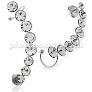 Sweep Jeweled Ear Cuff Wrap Cartilage Clip on Piercing Ear rings