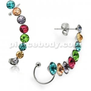 Sweep Multi Color Jeweled Ear Cuff Wrap Cartilage Clip on Piercing