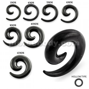 Black PVD Platted Over Hollow Surgical Steel Ear Expander