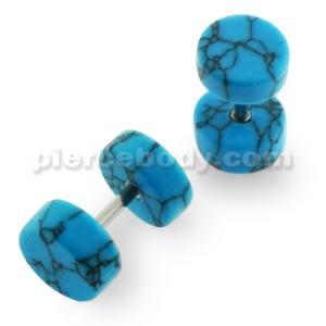 Organic Turquoise Stone Fake Ear Plug