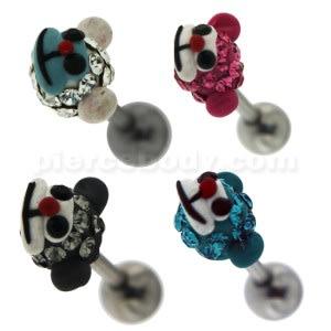 Multi Jeweled Monkey Face Cartilage Tragus Piercing Ear Stud