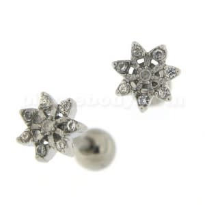 Micro Jeweled Flower Cartilage Tragus Piercing Ear Stud