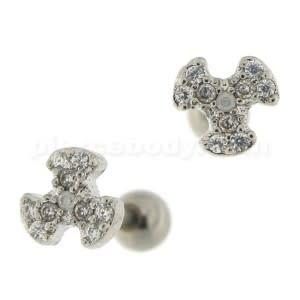 Micro Jeweled Biohazard Cartilage Tragus Piercing Ear Stud