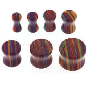 Colorful Multiple Stripes on Stone Saddle Ear plug Gauges