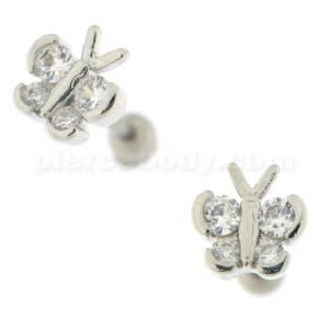 Jeweled Butterfly Cartilage Tragus Piercing Ear Stud
