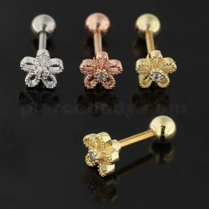 Center Jeweled Flower Cartilage Helix Tragus Piercing Ear Stud