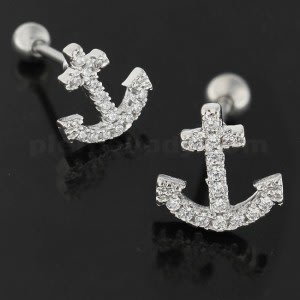 Micro Jeweled Anchor Cartilage Tragus Piercing Ear Stud