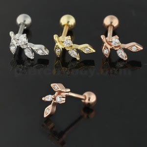 Jeweled Floral Cartilage Helix Tragus Piercing Ear Stud