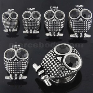 Black CZ Eye Surgical Steel Owl Flesh Tunnel