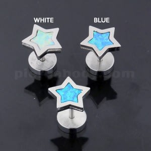 316L Surgical Steel Star Opal Stone Fake Ear Plug