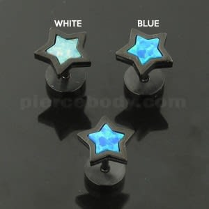 SS Blackline Jeweled Star Opal Stone Fake Ear Plug