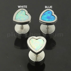 316L Surgical Steel Heart Opal Stone Fake Ear Plug