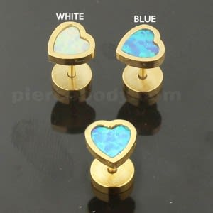 Gold Plated Heart Opal Stone Fake Ear Plug