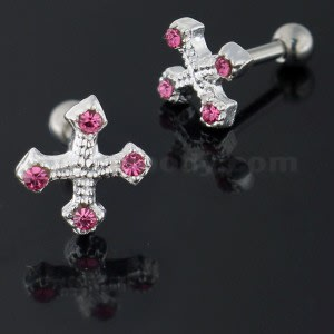 Jeweled Irish Cross 925 Sterling Silver Cartilage Tragus Piercing