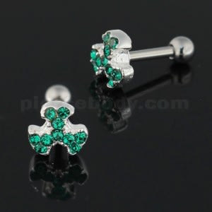 Jeweled Biohazard Sign 925 Sterling Silver Cartilage Tragus Piercing
