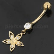 14K Gold Jewelry Hollow Zirconia Flower Design With Banana Bar Navel Ring