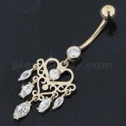 CZ Studded Dangling 14K Gold Banana Bar Belly Ring