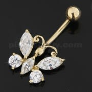 Butterfly Dangling Jeweled 14K Gold Navel Ring