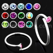 925 Sterling Silver Jeweled Flexible Nose and Ear Tragus Ring